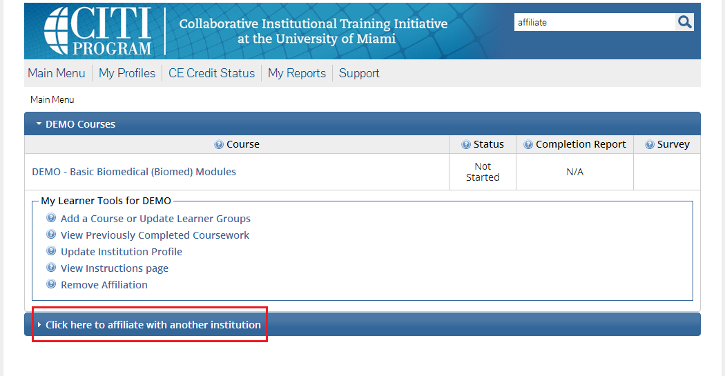 Screenshot with 'Click here to affiliate with another institution' highlighted.