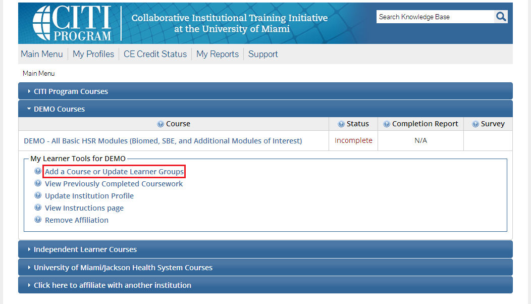 Screenshot with 'Add a Course or Update Learner Groups' highlighted.