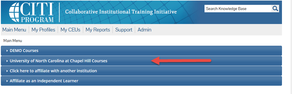 Screenshot of CITI program web page with red arrow pointing toward 'University of North Carolina at Chapel Hill Courses.'