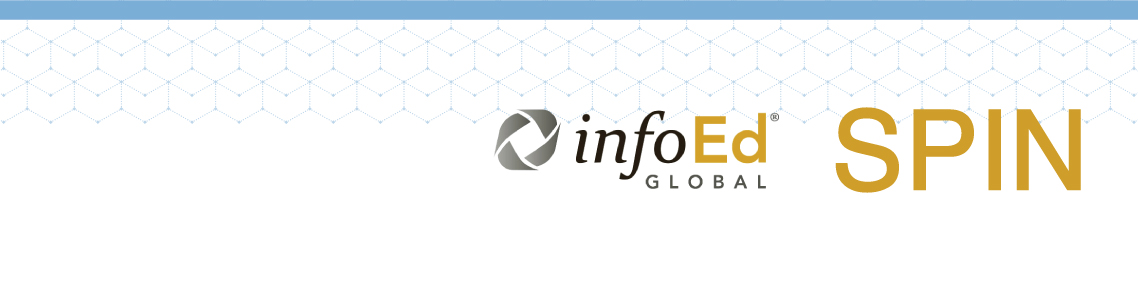 White banner with two logos, one for infoEd Global and SPIN Plus.