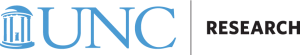 "UNC Research logo in Carolina blue and black. Features an illustration of the Old Well on the left hand side and ""UNC Research"" on the right."