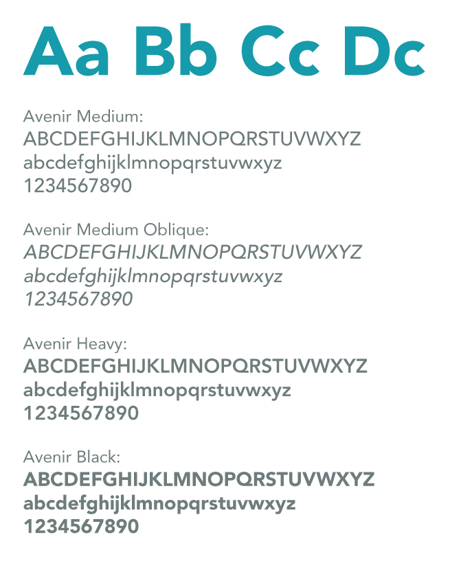 Image example of the Avenir typeface in it's weights.