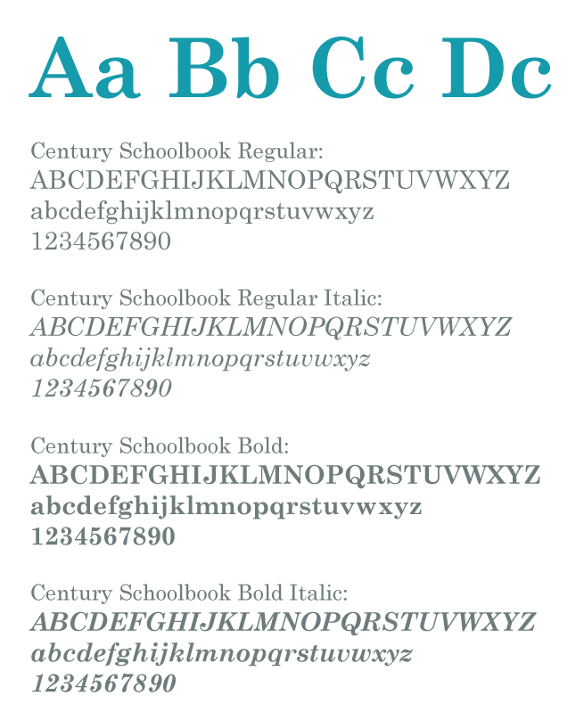 Image example of the Century Schoolbook typeface in it's weights.