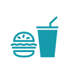 Icon depicting a fast food burger and fries.