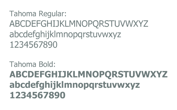 Image example of the Tahoma typeface in it's weights.
