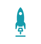 Icon depicting a rocket launching from the ground.