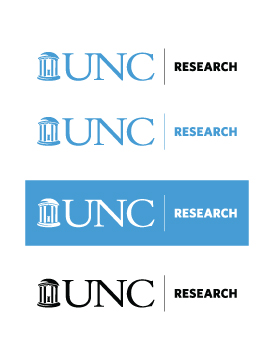 Displaying the horizontal version of the UNC Research logo in the standard colors; Carolina blue, white (on Carolina blue), and black