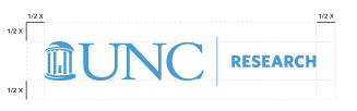 Diagram of spacing around the UNC Research logo to show that there needs to be at least have the height of the logo mark/old well's height around the logo.