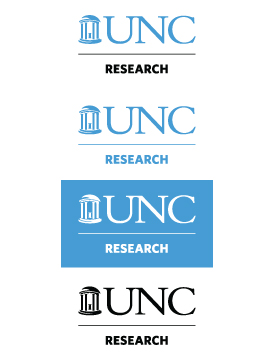 Displaying the vertical version of the UNC Research logo in the standard colors; Carolina blue, white (on Carolina blue), and black