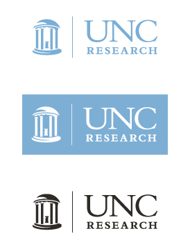 Displaying the UNC Research logo in the standard colors; Carolina blue, white (on Carolina blue), and black