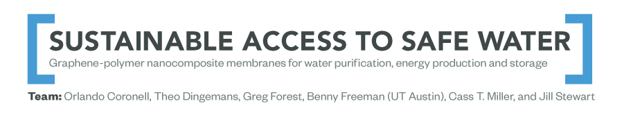 Project title: Sustainable Access to Safe Water. Graphene-polymer nanocomposite membranes for water purification, energy production and storage. Team members include Orlando Coronell, Theo Dingemans, Greg Forest, Benny Freeman (UT Austin), Cass T. Miller, and Jill Stewart.