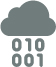 icon of a cloud with numbers falling from it.