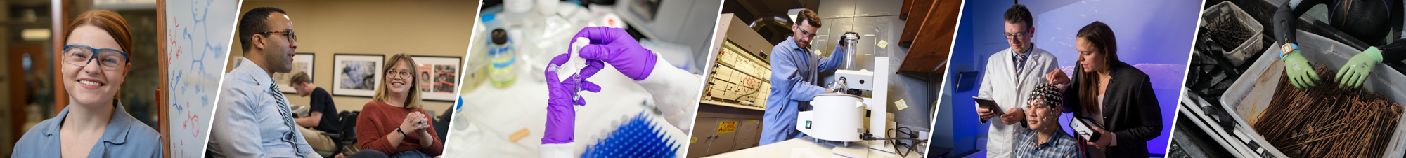 Multiple images of researchers working in the field. The first image a researcher in goggles smiling at the camera. The second image a professor and student talking. The third image is a detailed photo of two hands, in purple gloves, deal with lab equipment. The fourth image shows a researcher in the lab. The fifth image shows two researchers putting a web of sensors on a subjects head. The sixth image is a detailed photo of two gloves hands in a bin of rusted equipment used in marine research.