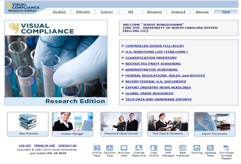 Screen capture of the Visual Compliance Research Edition website