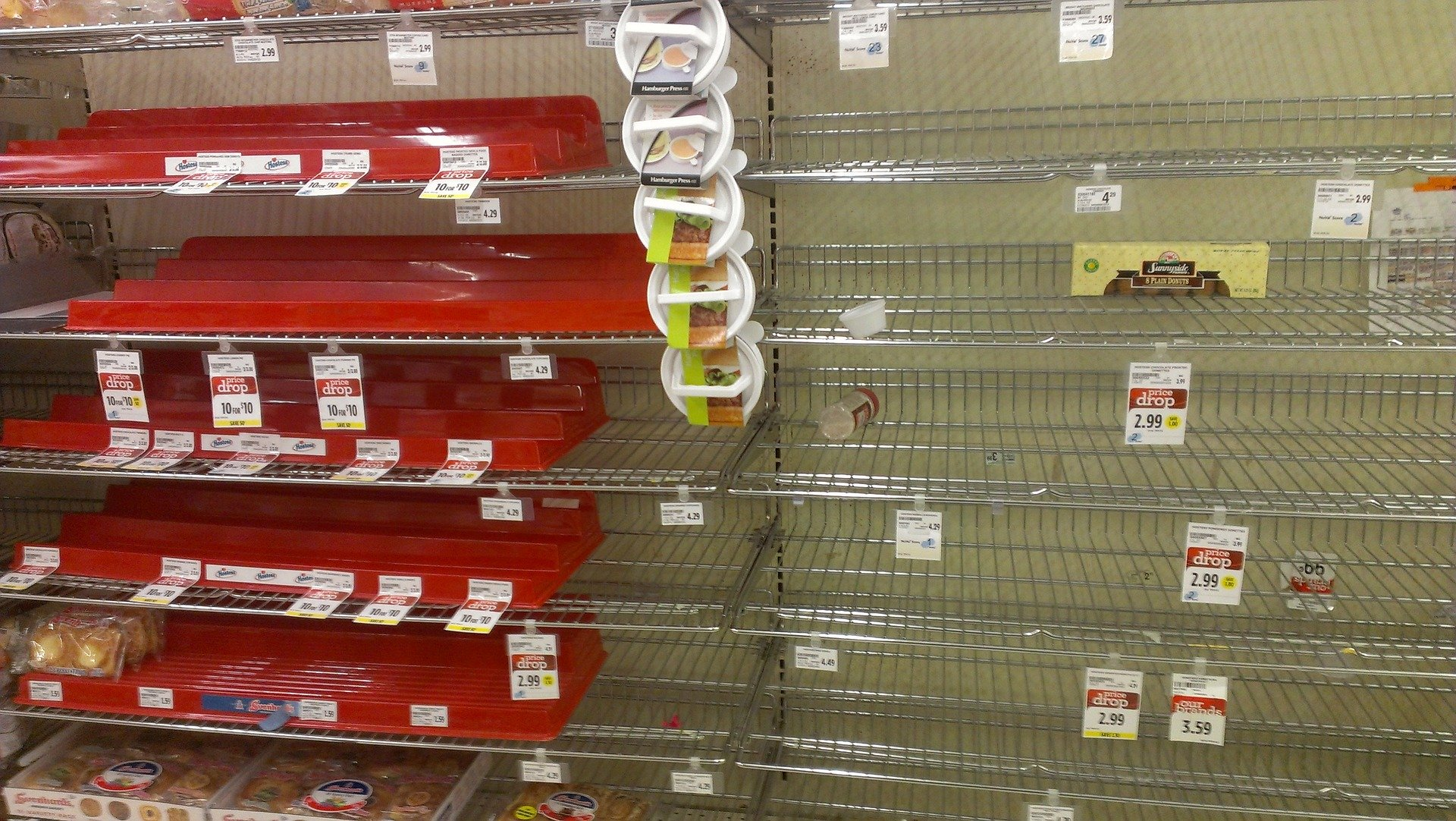 Empty grocery store shelves.