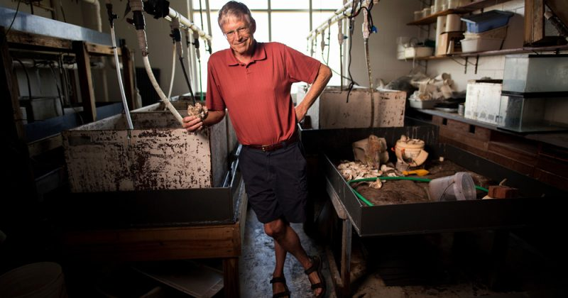 Pete Peterson in his lab at the UNC Institute of Marine Sciences. Photo by Jon Gardiner.