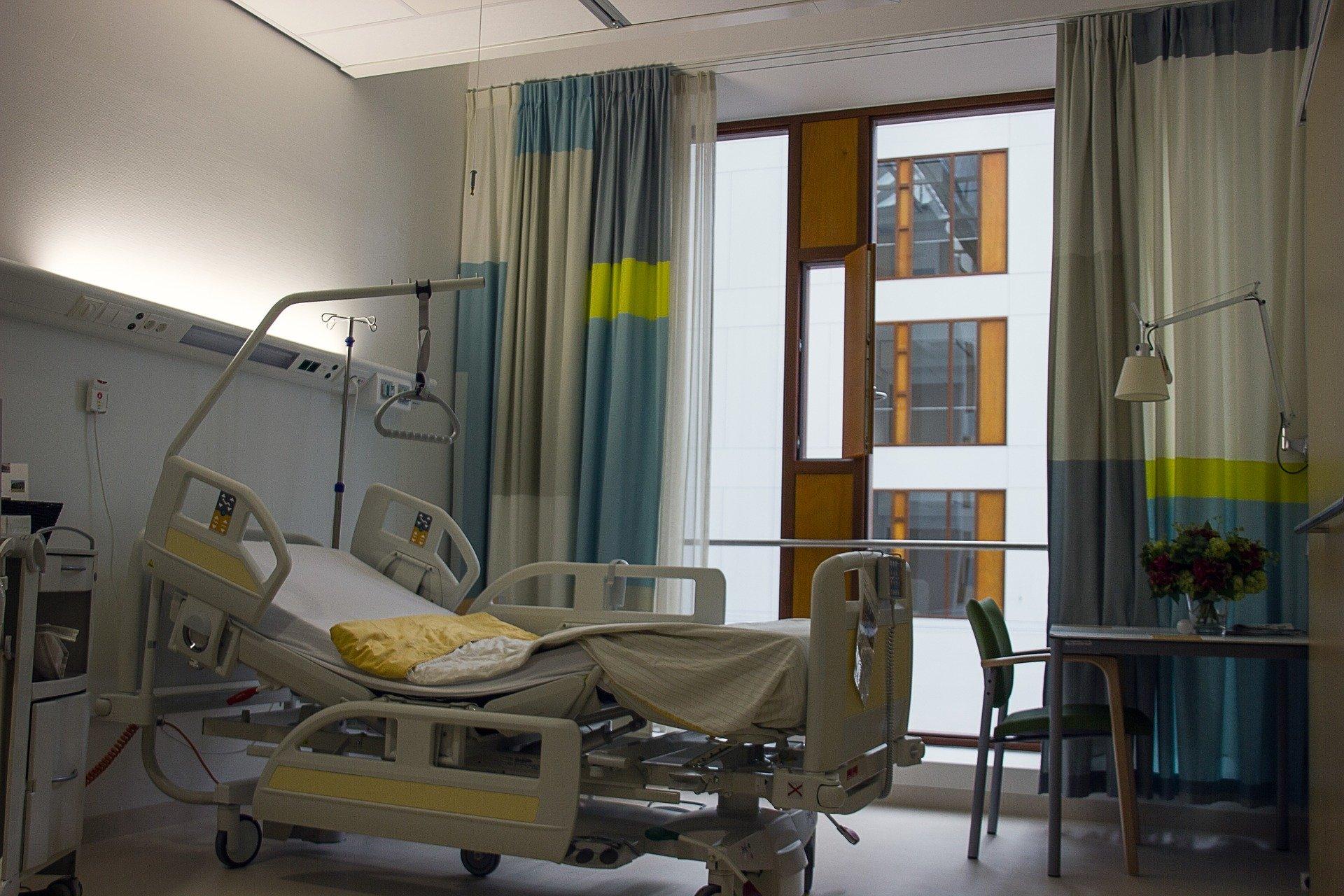 An empty hospital room.
