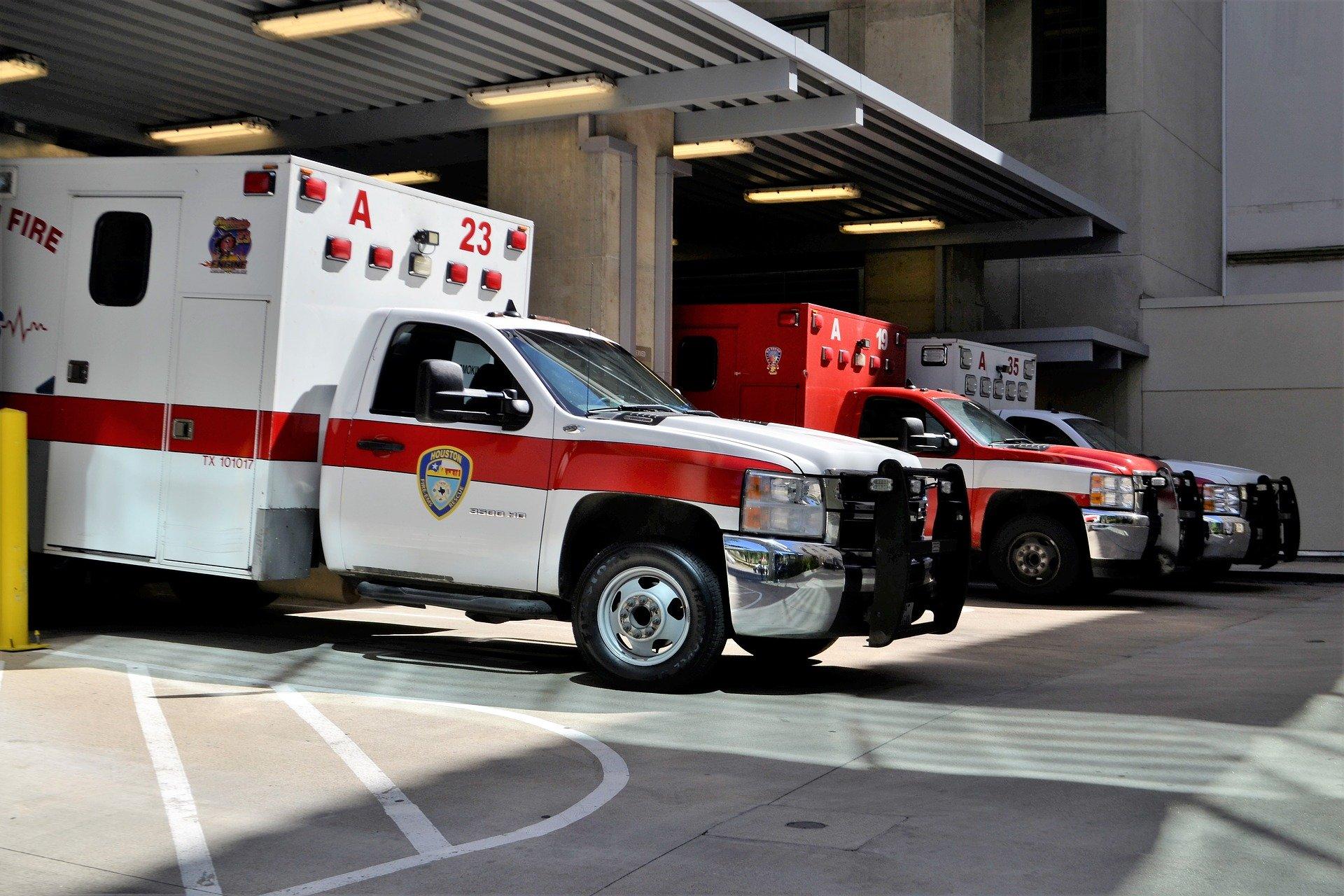 A row of ambulances