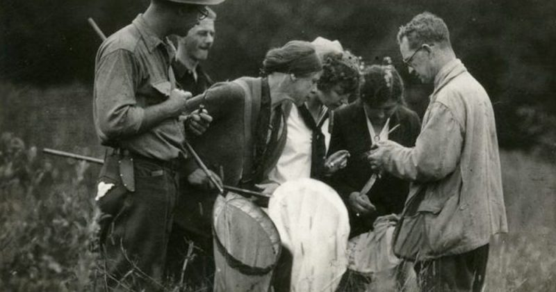 UNC zoologist Robert Coker (right) explains a research procedure to fellow scientists while out in the field, circa 1940s. Coker became the first director of the Institute for Fisheries Research, better known today as the UNC Institute of Marine Sciences, in 1947. Photo courtesy of the UNC Institute of Marine Sciences.