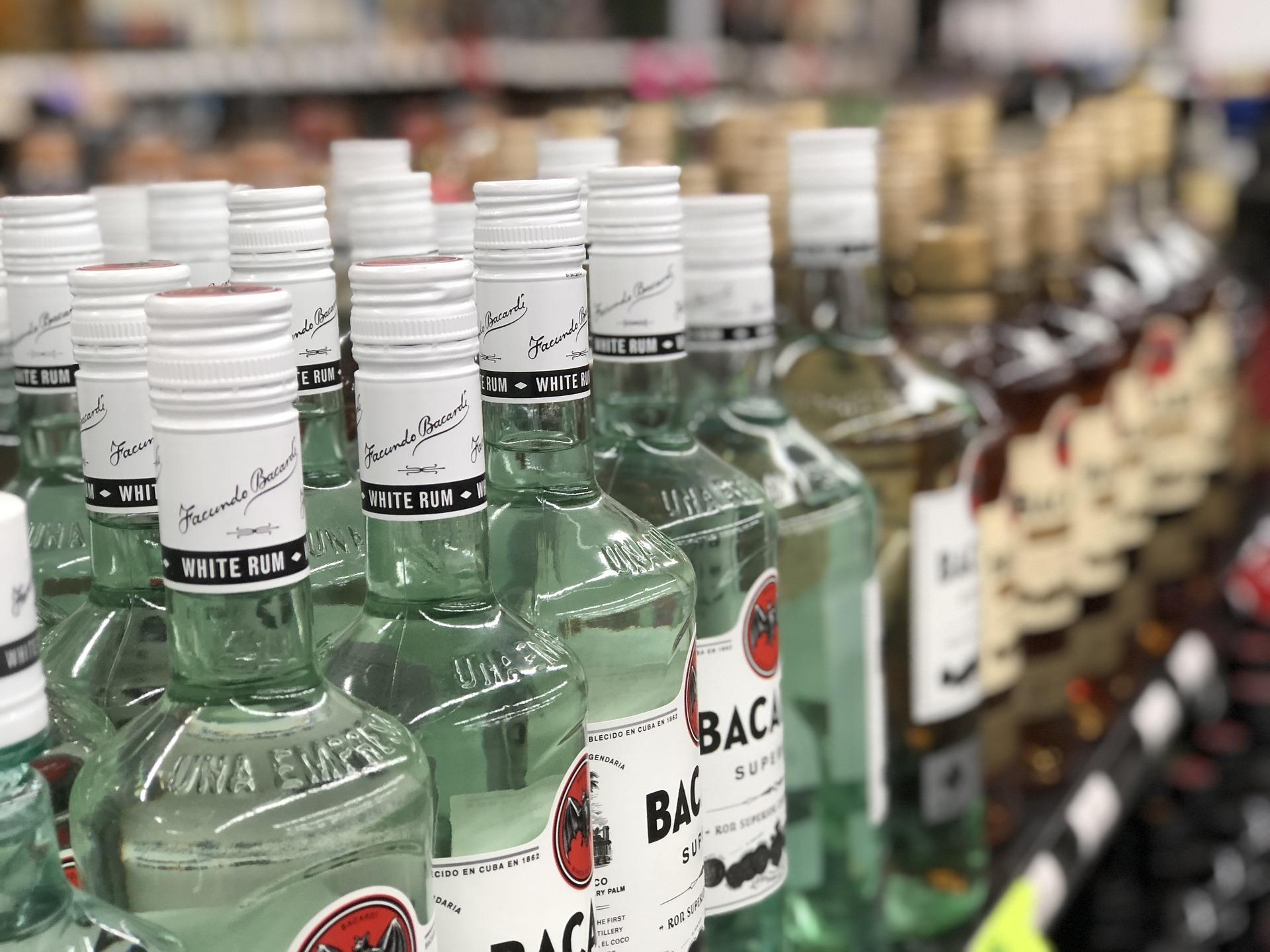 A close-up of a rum isle in a liquor store.