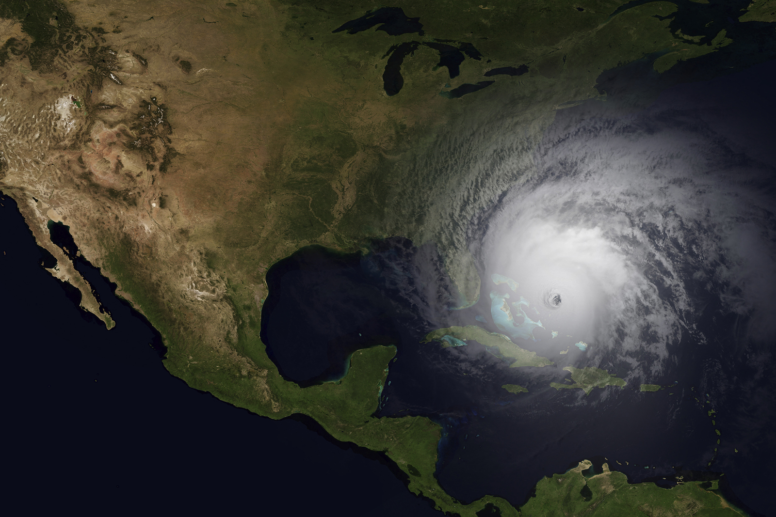 an overhead map view of a hurricane headed for the eastern seaboard
