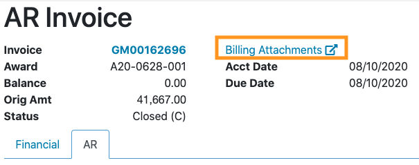 RAM Reports Direct Link to RAMSeS Billing Attachments image