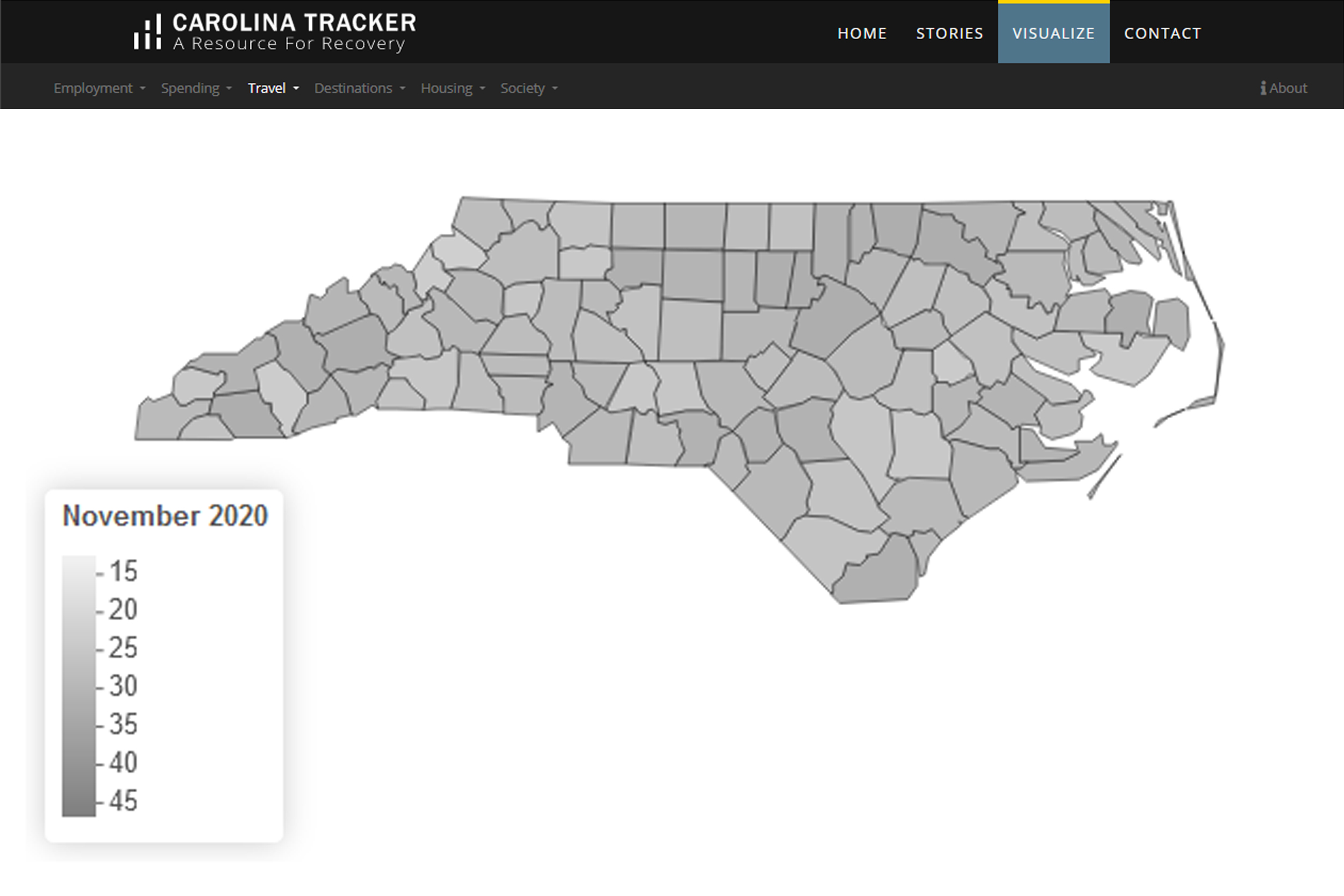 Carolina Tracker with a map of NC COVID-19 cases