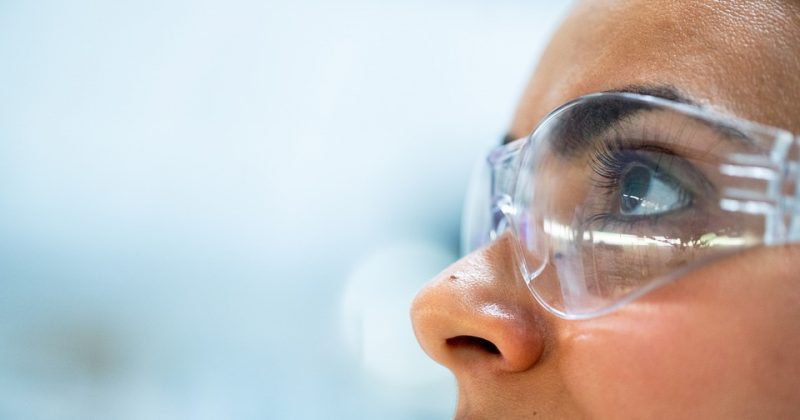 a girl with protective goggles