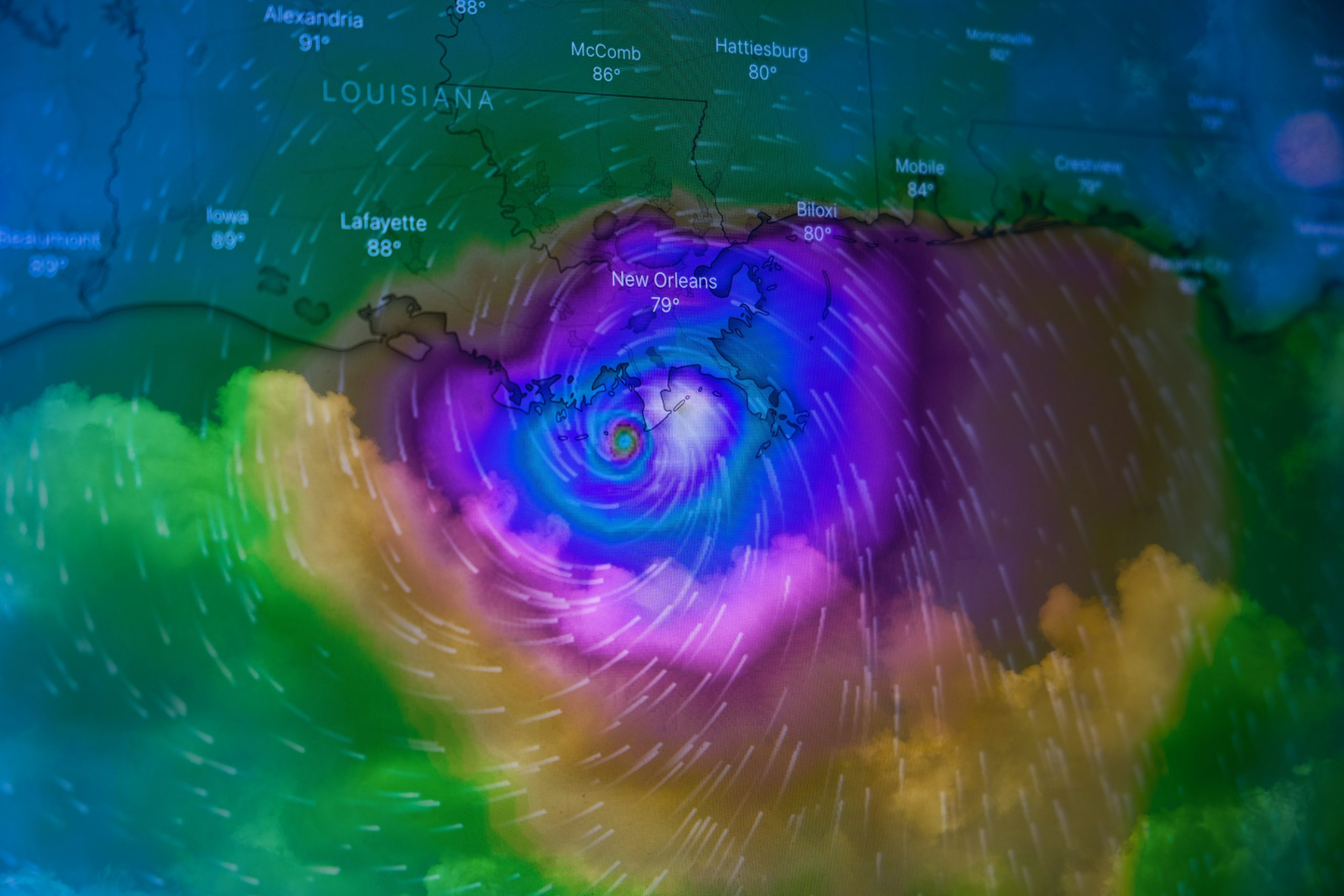 Image: A multicolored radar map shows Hurricane Ida looming over New Orleans.