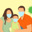 Illustration of parents and child with medical masks on